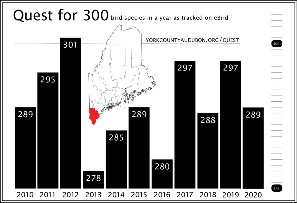 Bar chart showing 11 years of the Quest for 300, with only one year meeting the goal.